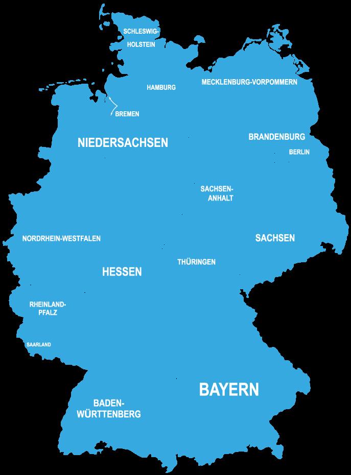 Landesverbände & Landesbeauftragte des BDMU e.V. übersichtlich dargestellt auf Deutschlandkarte